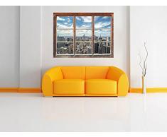 Skyline di New York, Finestra adesivi murali 3D Formato: Decorazione della parete 92x62cm 3D adesivi da parete decalcomanie