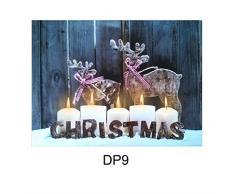 Natale Tela LED Stampa Grande con luci Festive Da Parete, Arte 40cm x 30cm Decorazioni - Natale Candele & Renna