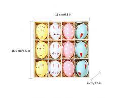 Amcute 12 Pezzi Uovo di Pasqua,Uova Pasqua plastica Decorazioni Pasqua per Bambini Dono Giocattolo Pasqua Festa Decorazione a casa Confezione Regalo