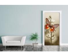 """Bilderdepot24.de 11492, Adesivo per porta """"Farfalla rossa"""", 90 x 200 cm, Multicolore (Bunt)"""
