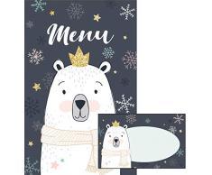 Avery - Set di 6 menù e 6 segnaposto natalizio magico