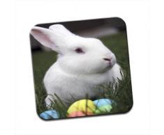 Coniglio Bianco con uova di Pasqua colorate unico Coaster