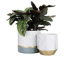 LA JOLIE MUSE Set di 2 vasi per piante e fiori in ceramica bianca, contenitori in marmo per piante con motivo a inchiostro e dettagli grigio e oro