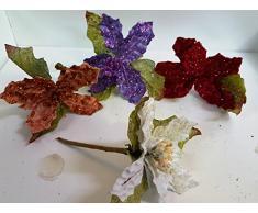 Set 12 pezzi fiore pick stella con corallini , x applicazione albero di NATALE, segnaposto tavolo, panettone. (AMON850) (PANNA)