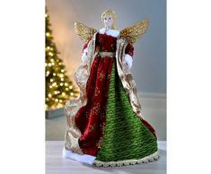 WeRChristmas - Puntale per albero di Natale a forma di Angelo, 40 cm, rosso