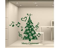 wall art NT0329 Adesivi Murali Vetrofanie Natalizie - Alberello Musicale - Misure 60x118 cm - Verde Scuro - Vetrine Negozi per Natale, Stickers, Adesivi