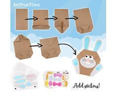 12 sacchetti regalo fai-da-te con coniglio pasquale da riempire - ideale per i bambini a Pasqua - un regalo dal cuore - coniglietto di Pasqua decorativo.