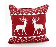 Adam Linens, 100% cotone stampato Natale per decorazioni di Natale-Cuscino, motivo: cervo, colore: rosso