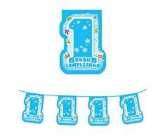 Big Party- Festone Bandierine Sagomate 1° Primo Compleanno, Azzurro, 61649
