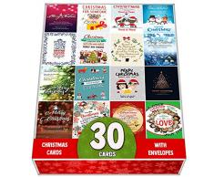 Confezione da 30 biglietti di auguri natalizi assortiti, set all'ingrosso, con un bel mix di citazioni natalizie, grande selezione, ideale come regalo di Natale