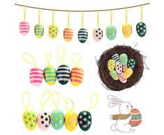Uova Pasquali Colorate CHEPL Set di 9 Uova di Pasqua in Legno Uovo Decorativo di Pasqua Ornamenti dattaccatura Adatti a Decorazione Della Stanza Della del Giardino di Festa di Pasqua