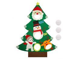Natale Toss Giochi con 3 pezzi Lanciare palle di neve Appeso Feltro Albero di Natale Banner 4 fori Albero di Natale Decor Giochi bambini Giochi divertenti per feste natalizie Patio esterno Forniture