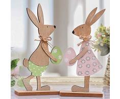 Victor's Workshop Pezzi 2 Decorativo di Pasqua Ornamenti in Legno Pasquale Conigli da con Uova 26 cm per la Decorazione di Pasqua - Rosa/Verde