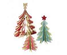 Sizzix - Decorazioni natalizie, Alberi di Natale 3D, Brenda Walton, modelli assortiti