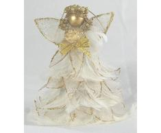 Angelo bianco con piume e organza bordata glitter oro - angioletto Decorazione da appendere Natale-H.10 cm H.7,5cm circa
