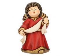 THUN® - Angelo dellAnnunciazione con Targhetta - Veste Rossa - Statuine Presepe Classico - Ceramica - I Classici