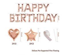 MMTX Decorazione di Compleanno Bimba 18, Palloncini Oro Rosa Festone di Palloncini per Compleanno Oro Rosa 32 Palloncini in Lattice 12 Palloncini in Lattice con coriandoli Oro Rosa …