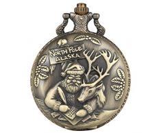 Benevolent - Orologio da tasca da uomo, con motivo Babbo Natale, stile classico, da tasca al quarzo, per gli amici