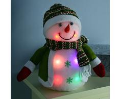 WeRChristmas - Decorazione natalizia a forma di pupazzo di neve con accessori lavorati a maglia, con luci LED cangianti, 20 cm, colore: verde