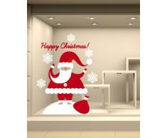 NT0190 Adesivi Murali - Babbo Natale sulla Neve - Vetrofanie natalizie - 60x75 cm - bianco e rosso - Decorazioni vetrine per Natale, stickers, adesivi