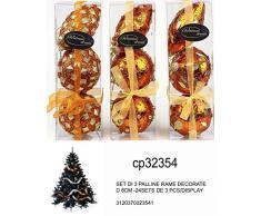 Idea Natale: Set 3 palle palline natalizie color rame decorate - brillantini perline o foglie - per addobbi albero di Natale