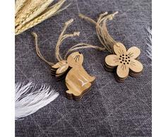 Honestyi Decorazioni di Pasqua Ornamenti di Forme di Fiori in Legno Regali Artigianali Decorazione Ciondolo Uova di Pollo Coniglietto di Pasqua Decorazioni per la casa in Stile Nordico