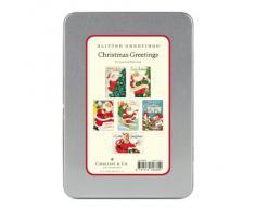 Cavallini - Paillettes Di auguri Cartoline - Babbo Natale - Scatola di latta con 12 cartoline - 6 Disegni/2 Per Design
