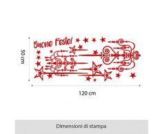 NT0253 Adesivi Murali - Luci e stelle - Vetrofanie natalizie - 90x90 cm - rosso - Decorazioni vetrine per Natale, stickers, adesivi