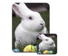 Bianco coniglio con uova di Pasqua colorate Premium Mousematt & sottobicchieri
