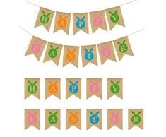 LUOEM Pasqua Banner Decorazioni Pasqua Sackleinen Banner Bunny Bunting Ghirlanda Bandiere per Pasqua Home Party Decor