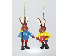Le coppie le lepri 5cm 2 bambini da appendere su hanno dipinto le montagne del minerale metallifero della decorazione di Pasqua del coniglietto di Seiffen pasqua NUOVE