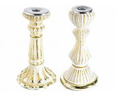 Ideapiu 2 Candelabro portacandela in vetro anticato bianco e oro