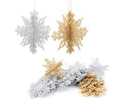 Aitsite 16 Pezzi di Fiocchi di Neve Glitter 3D, Artigianato da Appendere in plastica da 4 Pollici per Feste di Matrimonio Natalizie e Decorazioni per la casa (Oro + Argento)
