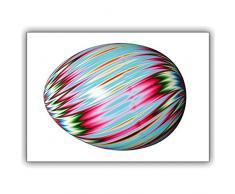 Set di 16: Carta di Pasqua felice con un grande uovo colorato - biglietto di auguri con busta