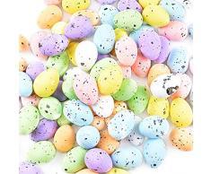 BETESSIN 100 Pz Uova di Pasqua Colorate Mini Uova Pasquali Artigianali di Schiuma Decorazione per Festa Pasqua Ornamenti per Casa Party Giocattoli Regalo