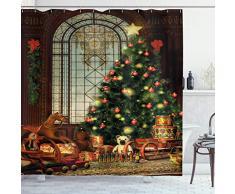 ABAKUHAUS Natale Tenda da Doccia, Albero di Natale, Tessuto Set di Decorazioni per Il Bagno con Ganci, 175 x 200 cm, Marrone Rosso Verde