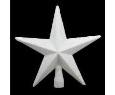 Puntale per albero di Natale a forma di stella, 20 cm, con brillantini, colore: Bianco