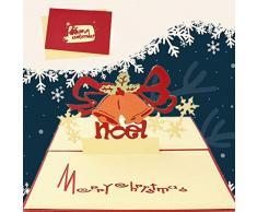 Sethexy 3D Cartoline natalizie Apparire Campane di Natale Biglietti dauguri con buste Colorato Regali di buon Natale per la famiglia migliore amico fidanzato fidanzata