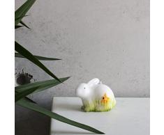 Figure coniglietto pasqua seduto bianco verde candela decorativa