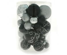 WeRChristmas - Set di decorazioni natalizie, con 50 palline in plastica infrangibile argento/nero
