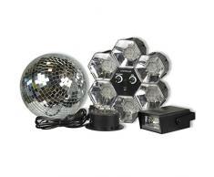 Set luci disco costituito da tre pezzi: palla di specchi con led, luce stroboscopica e lampada 6 faretti a led multicolore