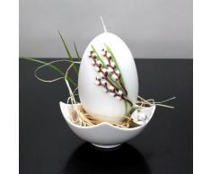 Wenzel - Candela a forma di uovo di Pasqua, con salicone, 115 / 75 mm bianco, 4 pezzi