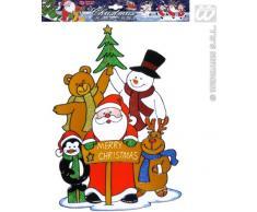 Widmann VD-WDM1235Y Vetrofania Famiglia di Babbo Natale, Multicolore, Taglia Unica