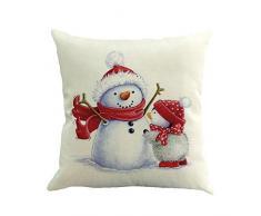 Cuscino di Christmas, Longra Pupazzo di Neve di Natale di Stampa di Lino Federa (Multicolore_C)