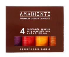 Amabiente-Design Candles 8400-1Cocoon 4Cilindro Candele Indian Night Deco Candle Mix Candela Cera vegetale, Misti, 4.5x 4.5x 14,5cm