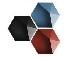 Opak Stile Nordico esagono Geometrico portaoggetti Montaggio a Parete mensola Galleggiante portavasi per Fiori mensole appese Decorazione della Parete, 3 Pezzi