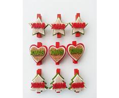 Set di 9 mollette segnaposto natale, xmas christmas albero cuore stella, juta, rosso verde, 4,5 cm