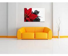 fiore rosso di una stella di Natale bianco / nero Dimensioni: 120x80 su tela, XXL enormi immagini completamente Pagina con la barella, stampa d'arte sul murale con telaio, più economico di pittura o un dipinto a olio, non un manifesto o un banner,