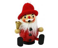 Buffa legno-räucher-Babbo Natale seduto con berretto rosso e campanellino