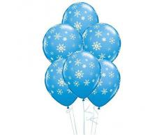 Palloncini Qualatex Con Fiocchi Di Neve E Scintille Color Uovo Di Pettirosso (Blu Ciano)